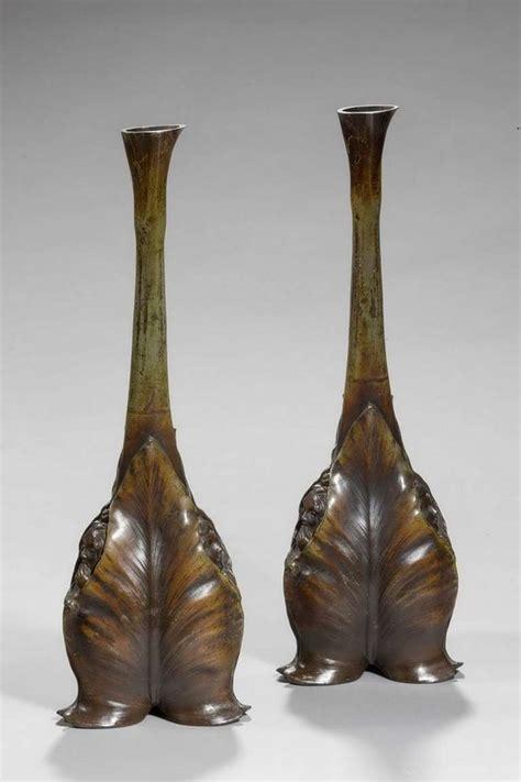 Nouveau Vases by Pair Of Nouveau Bronze Vases Signed L M Maurel For