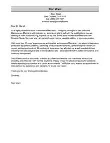 Industrial Cover Letter by Leading Professional Industrial Maintenance Mechanic Cover Letter Exles Resources