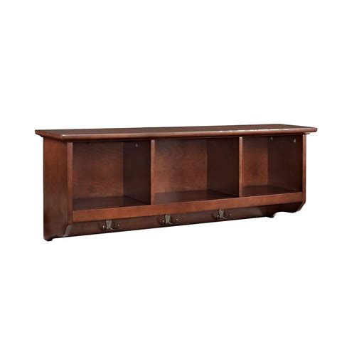 entry shelf crosley brennan entryway storage shelf in mahogany cf6004 ma the home depot
