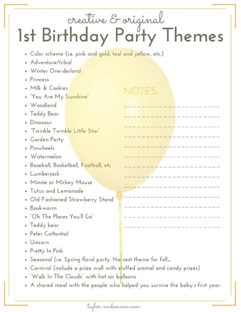 theme checklist the ultimate first birthday party planning and gift guide
