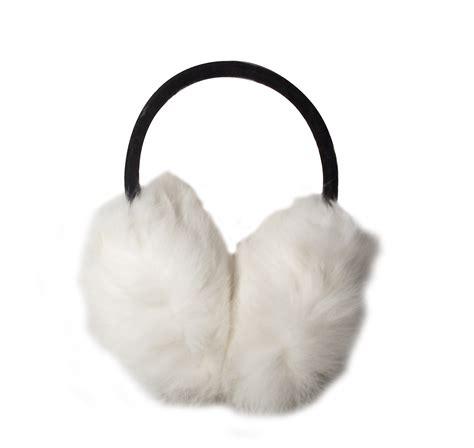 ear muffs oversized fox fur white ear muffs