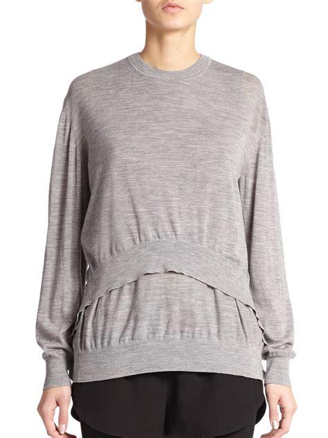 draped sweater alexander wang merino wool draped sweater in gray heather