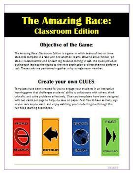 Amazing Race Clue Cards Templates by Amazing Race Cards For Social Thinking Activity Social