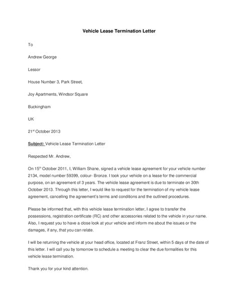 letter terminating lease isale