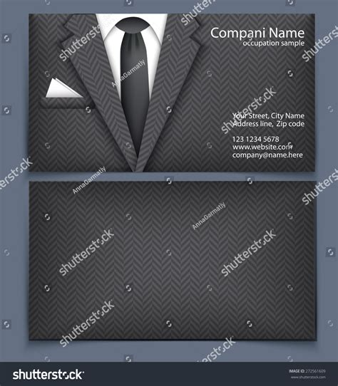 black suit business card template business card suit template visit card stock vector