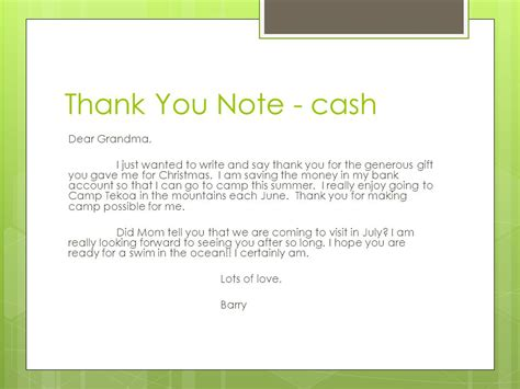 Sle Thank You Note For Generous Donation Thank You Notes Reasons To Write A Thank You Note To Show Gratitude Ppt