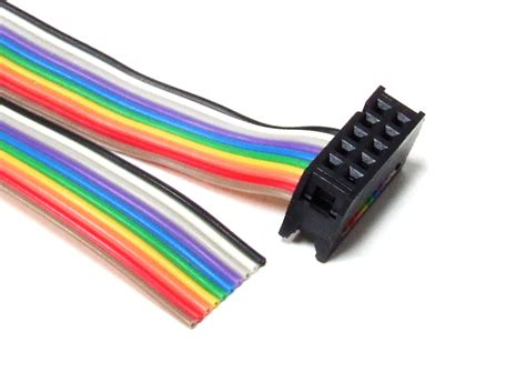 10 pin idc connector flat ribbon cable 30cm idc 10 pin connector rainbow color flat ribbon