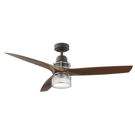 Led Light For Ceiling Fan Shop Kichler 54 In Satin Bronze With Brushed Nickel Accents Integrated Led Indoor