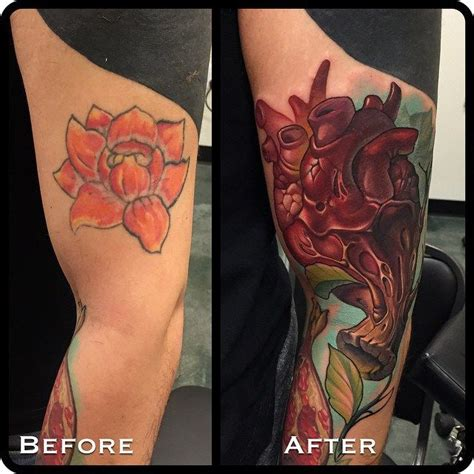 tattoo fail cover up heart new school cover up arm tattoo by timmy b best