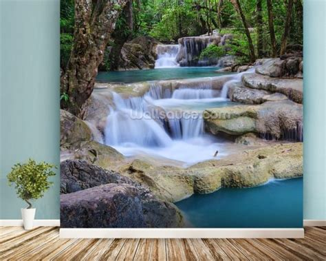 waterfall wall mural erawan waterfall kanchanaburi thailand wall mural erawan waterfall kanchanaburi thailand