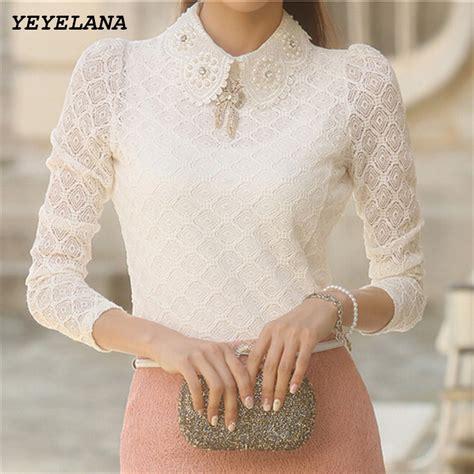 Blouse Kerah Renda Blouse Polos yeyelana lace blouses 2017 summer new femininas sleeve chiffon blouse