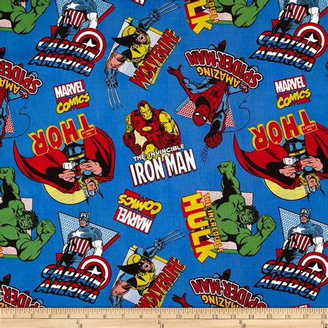 Marvel Comics The Avengers Character Toss Blue   Discount Designer Fabric   Fabric.com