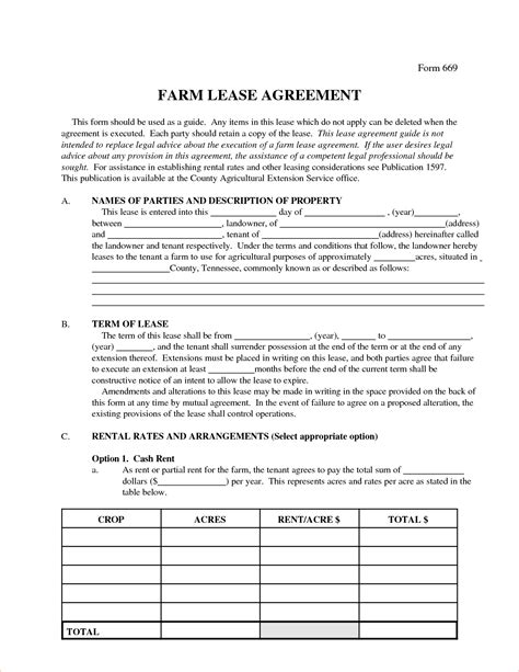 farm lease agreement template 6 farm lease agreementreport template document report