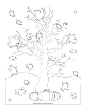 thanksgiving leaves falling coloring page
