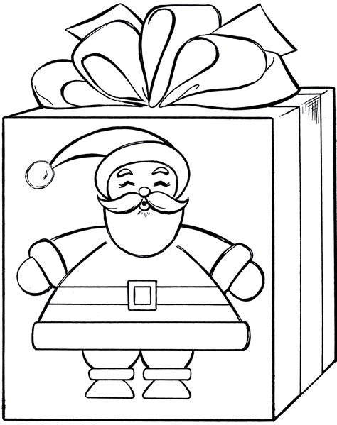 Santa Gift Coloring Page Cute The Graphics Fairy Gifts Coloring Pages
