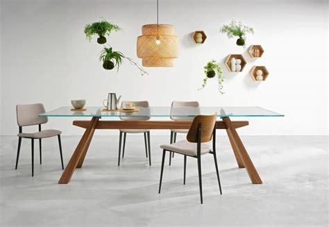 tavolo di vetro tavolo da pranzo con struttura in legno e piano in vetro