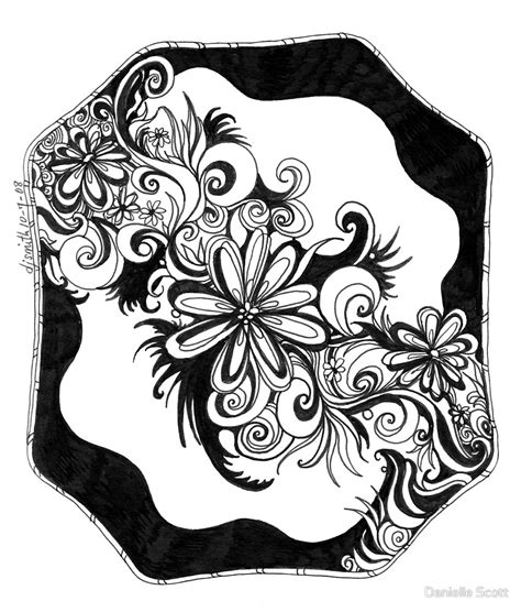 doodle black pen quot flowers abstract doodle pen and ink black and white