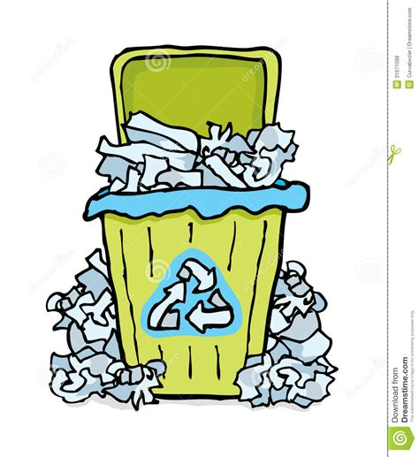 Wastepaper Basket Recycling Paper Bin Stock Illustration Image Of Messy