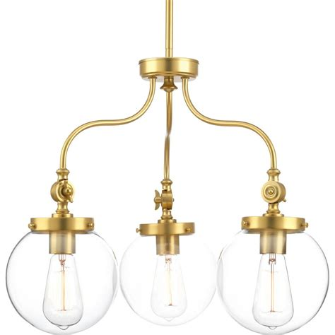 Brass Chandelier Lighting Progress Lighting Penn 3 Light Brass Chandelier With Clear Glass Shade P4769 137 The