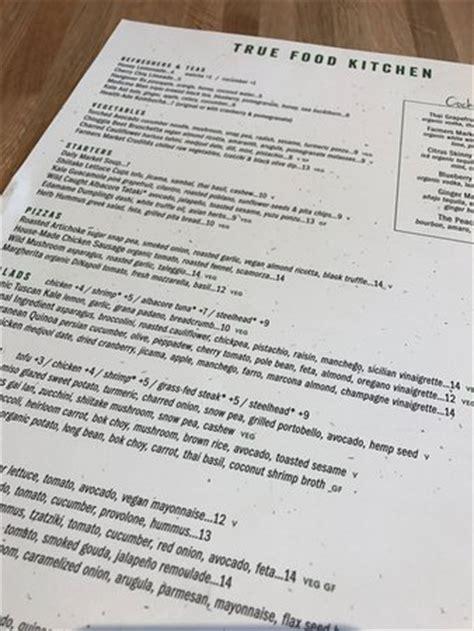 menu picture of true food kitchen naples tripadvisor