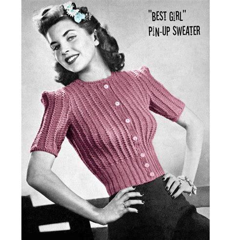 knitting pattern vintage vintage knitting pattern 1940s cropped pin up cardigan by