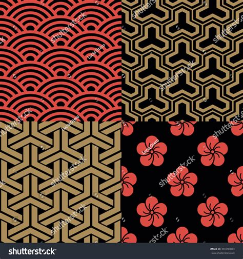 traditional japanese pattern vector set traditional japanese patterns stock vector 301090013