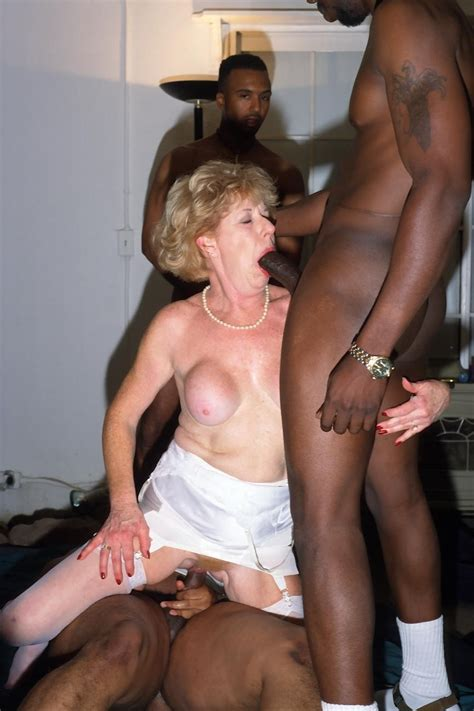 cock hungry granny takes on a horde of huge black meat