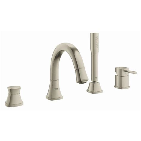 shop grohe concetto brushed nickel 1 handle fixed deck mount bathtub faucet at lowes com shop grohe grandera brushed nickel infinity 1 handle deck