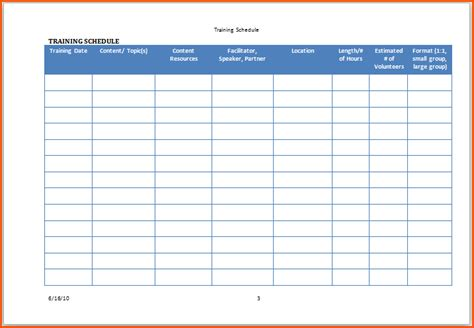 search results for sle training schedule template