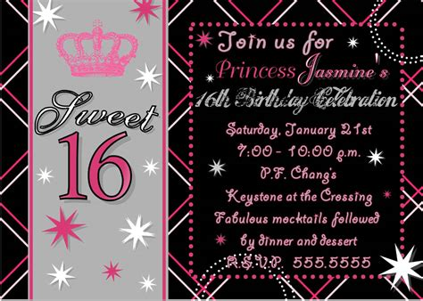 16th Birthday Invitations Templates Free invitations best sweet 16 invitaions sle