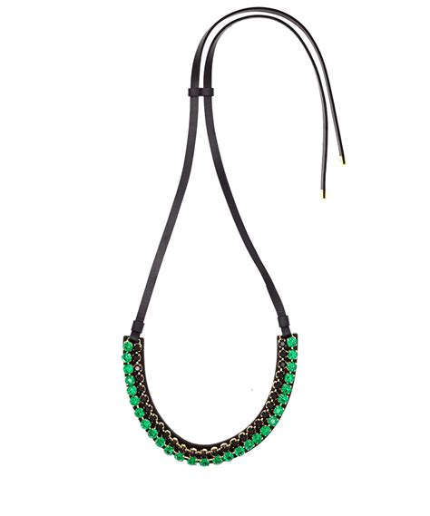 leather cord for jewelry marni green leather cord necklace in green lyst