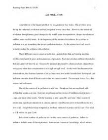 Pollution Essay 2 Pages by Air Pollution Essay