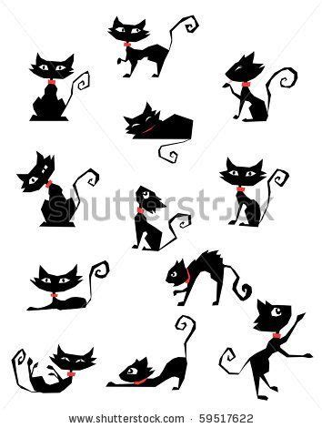 tattoo black cat silhouette stock vector collection of black cat silhouettes fun
