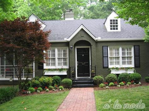 green house color red brick and forest green trim to army green brick to