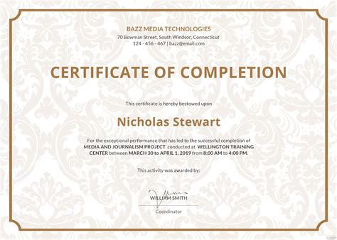 certificate template for project completion free project completion certificate template in adobe