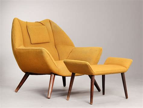Easy Chair With Ottoman Design Ideas Kurt 216 Stervig Easy Chair Armchair With Ottoman Upholstered In Mustard Yellow Wool
