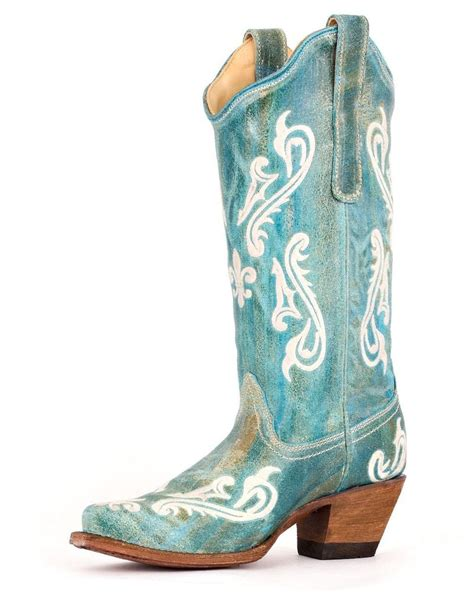 corral western genuine leather boots turquoise