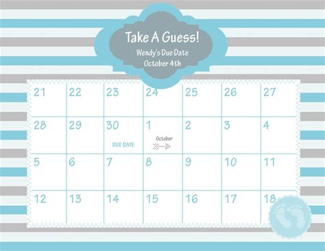 printable calendar custom dates printable due date calendar baby shower game guess the