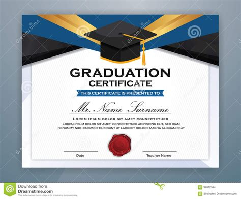 graphic design graduate certificate online high school diploma certificate template stock vector