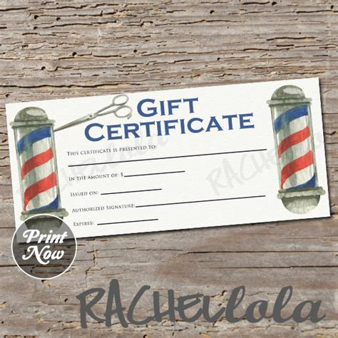 Barber Shop Pole Printable Gift Certificate Template Hair Salon Spring Hairdresser Christmas Barber Shop Gift Certificate Template