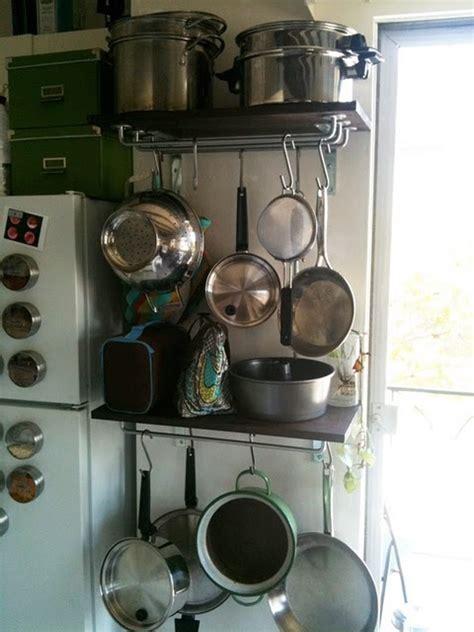 Narrow Pot Rack Diy Pot Racks For A Narrow Space Ikea Hackers Home