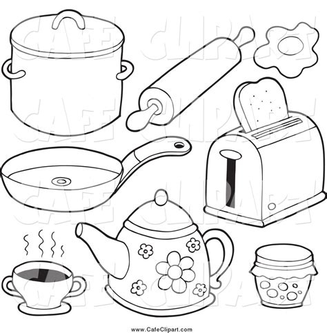 coloring pictures of kitchen kitchen drawing clipart 10