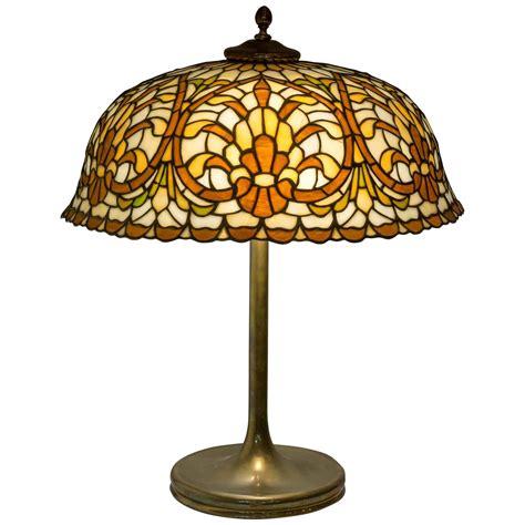 leaded glass table lamp  lamb bros circa   stdibs