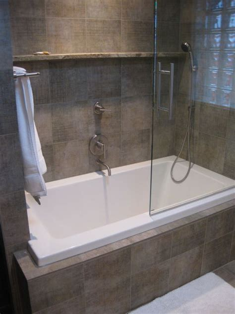 Tub Shower Combo For Small Bathroom Wonderful Small Tub Shower Combo With Glass Door Completed And White Towel Also Ceramic Wall