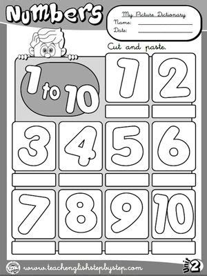 Numbers (1 to 10) - Picture Dictionary (B&W version) | ESL
