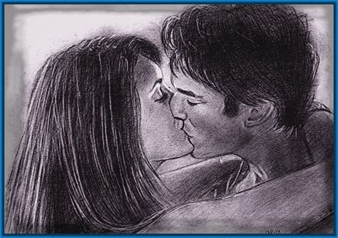 imagenes a lapiz de parejas enamoradas dibujos a lapiz de personas besandose con ternura