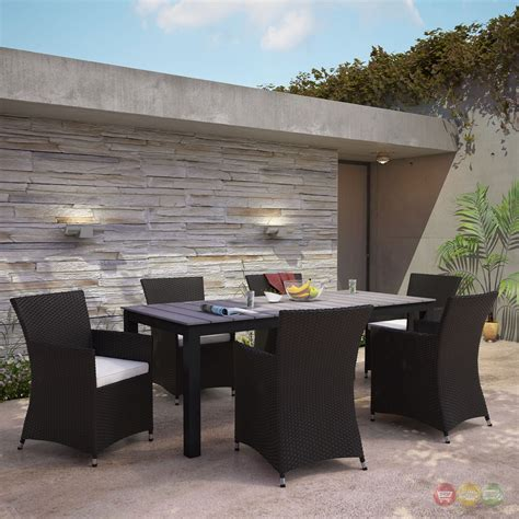 7pc patio dining set junction contemporary 7pc outdoor patio wicker dining set