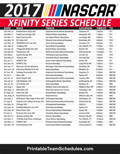 printable nascar schedule nascar xfinity series schedule 2017 print here http