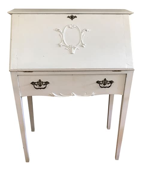 Distressed White Secretary Desk Chairish Distressed White Desk