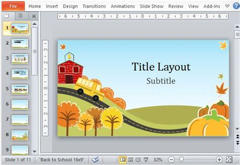 free children powerpoint templates fall powerpoint template